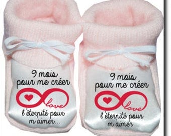 "Baby booties custom ""9 months to create"""
