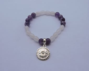 Amethyst bracelet, quartz and sterling silver medal