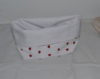 White bag with reversible red heart