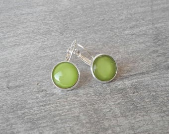 Earrings glass cabochon Collection mini handmade lime green ❤ ❤