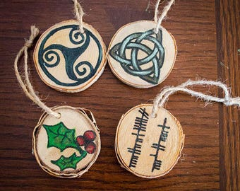 Celtic Birch Christmas Yule Tree Ornaments Set of 4