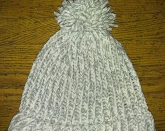 Grey knit winter hat