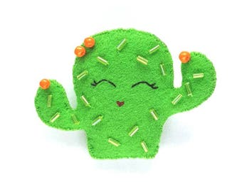 Hand Beaded Cactus Brooch