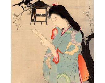 By the light of a lamp (Mizuno Toshikata) N.1 kuchi-e woodblock print