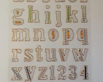 Stickers transparent, silver and gold letters - alphabet stickers - letters - numbers