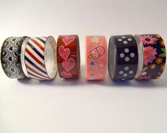 Set of 6 masking tape colorful - flowers, heart, stripes, polka dots (C)