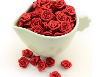 Set of 10 red rose Ribbon 20 mm