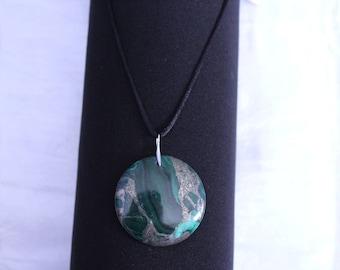 malachite and pyrite Silver 925 necklace