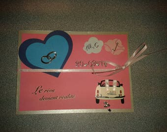 Pink and blue wedding congratulations card