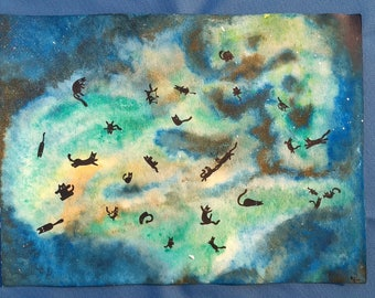 Cats In Space Watercolor Painting