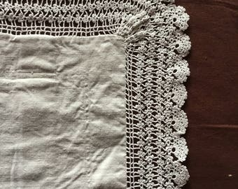 Antique linen pillowcase with crochet border, handmade. Vintage pillowcase Taie D'oreiller anc8en
