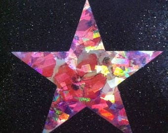 Star pattern fusible thin 7.5 x 7.1 cm holographic flowers - Limited Edition