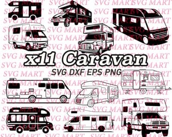 caravan svg, caravan clipart, png, eps, dxf, vector, vehicle, transportation, line art, silhouette,