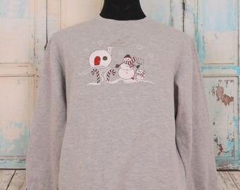 SNOWMAN Sweatshirt, Happy Holidays Urban Street Wear Sweater, Size L