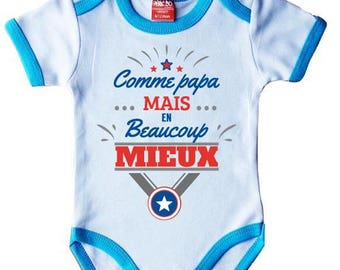 """Bodysuit baby original humor """"dad but much better"""" turquoise"""