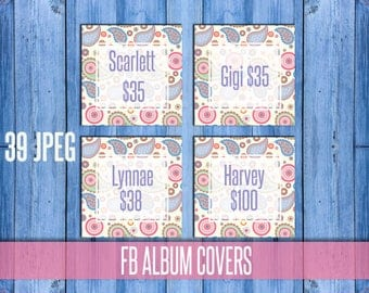 "SMM Album Covers; paisley; 5"" x 5""; HO approved, Group Cover, Cover Photo; Approved Fonts and colors; Instant Download"
