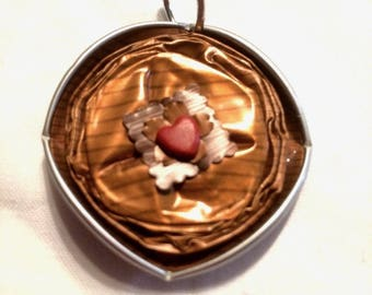 Brown Coffee capsule little red heart pendant