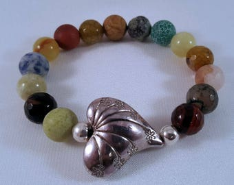 Gemstone bracelet made of colourful agate beads, silver-plated heart and beads, elastic band