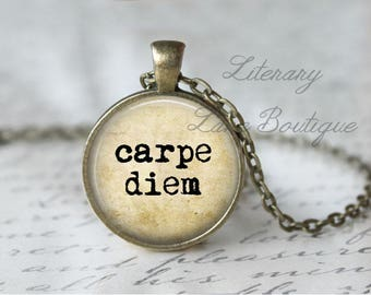 Carpe Diem, Typewriter Font Quote Necklace or Keyring, Keychain.