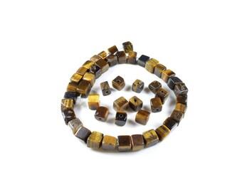 10 pearls irregular cubes of natural Tiger eye + / 6 x 6mm LBP00166