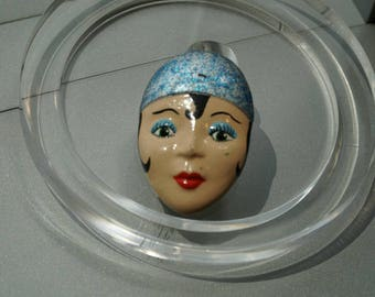 1950s Hand painted flapper face brooch