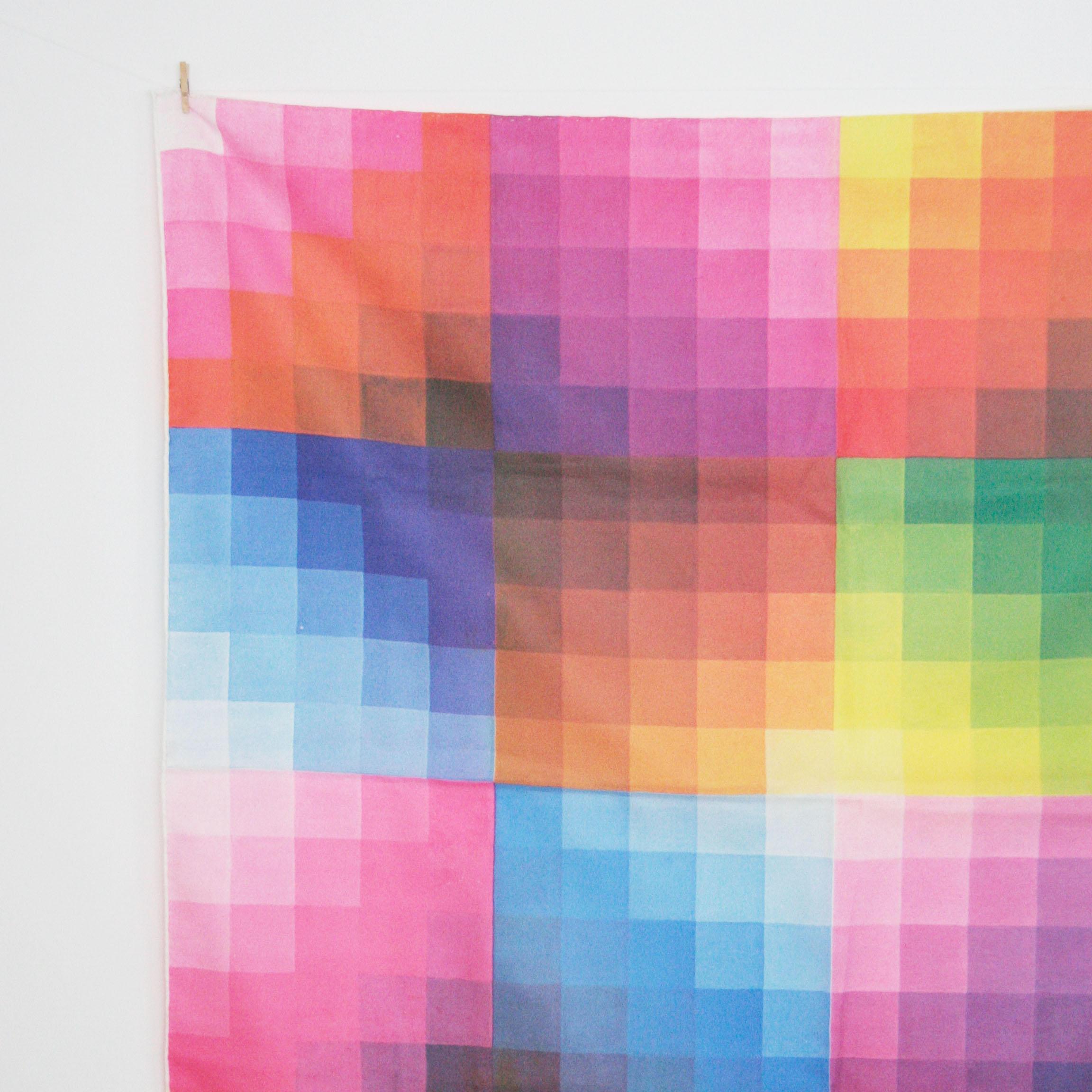 Color chart rainbow - Vintage 1970s Glentex Rainbow Chart Scarf Pantone Chart Color Theory Grid Artist Designer