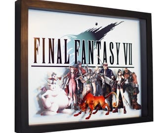 """Final Fantasy VII (Title & Characters) - 3D Shadow Box (11"""" x 14"""")"""