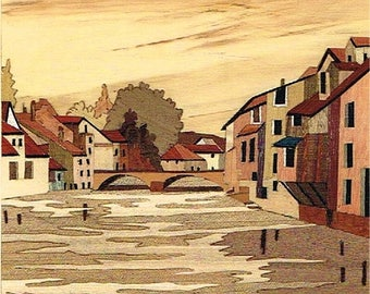 Village of France marquetry 27cm x 24cm