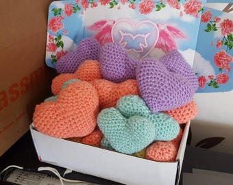 Puffy lavender scented crochet hearts