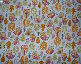 C644 owls orange/pink/green fabric (Robert Kaufman) coupon 35x50cm