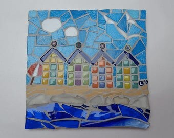 beach huts mosaic tile