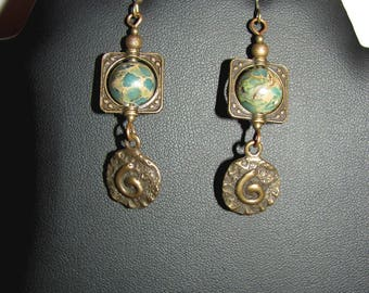 Earrings natural Variscites and spiral charm