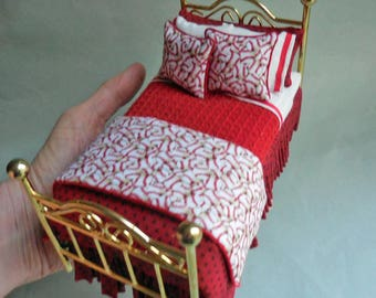Dollhouse Miniature Boy's Baseball Bed, Artisan Made, twin, brass, sports, 1:12