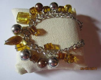 Chain Bracelet with amber and silver charms