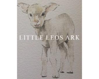 Baby farm animals/ baby lamb sheep/ farm animal/ nursery prints/ watercolour/ watercolor painting/ print/ wall art/ kids decor