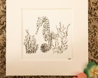 Seahorse Art Print, Wall Art, Seahorse Drawing Picture