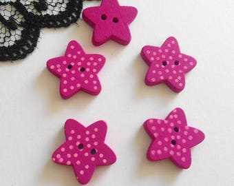 4 buttons wooden stars purple polka dots 15 x 3 mm 4 buttons sewing scrapbooking knitted child's baby (TR5)