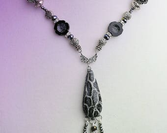 Black Coral beaded necklace