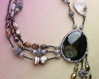 Brown Agate beaded necklace