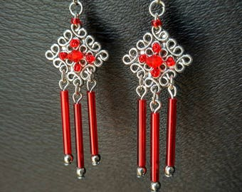 Ethnic Chic Red and Silver earrings, knot end beads and red glass tubes