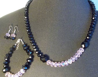 Set in black and pink Crystal beads
