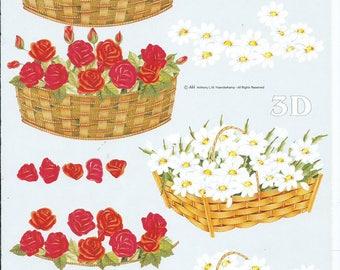 paper cut card 3D flower basket