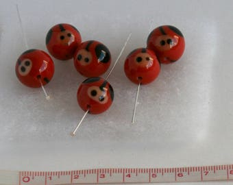 15 mm, set of 4 Ladybug glass bead