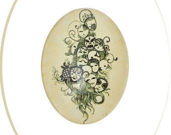 Large oval glass cabochon, 4 x 3 cm