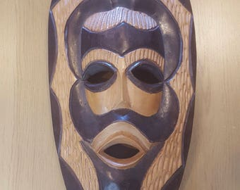 "Large 20"" Wooden Hand Carved African Tribal Decorative Mask"