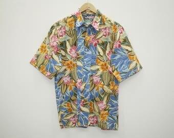 Vintage 90s Reyn Spooner Hawaiian Traditionals Hibiscus Floral Colourful Hawaiian Shirt Cotton Size M