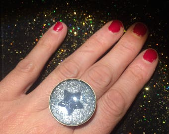 Ring glitter star faux leather and silver