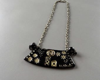 Bib necklace original polymer clay black and gold with gold powder
