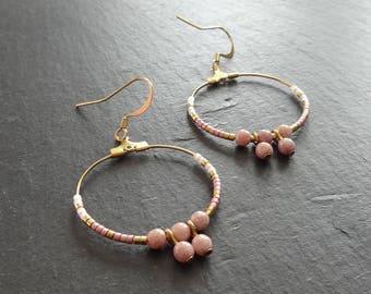 Earrings hoop earrings pink and gold beads