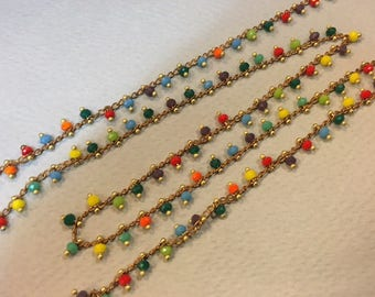 Faceted beaded chain 3mm for jewelry designs